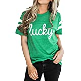 Womens Shirts Shirt Tops Alphabet Print Lady Striped Short Sleeve Top Green