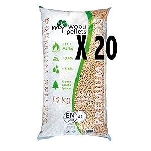 20 Sacchi Pellet Abete 100% N.20X15KG Totale 300KG Certificato A1 Bianco Latte My Wood 41zR9rCQQ8L. SS300