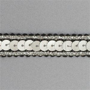 Plush Addict Sequin Metallic Edged Trim - 12mm wide Black/Silver - Per Metre