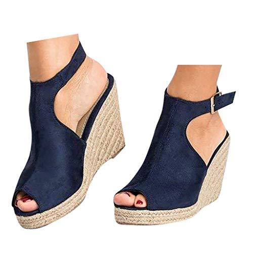 Veodhekai Womens High Heel Platform Sandals Open Toe Wedges Buckle Strap Roman Shoes Solid Wedding Ankle Sandals Dark Blue