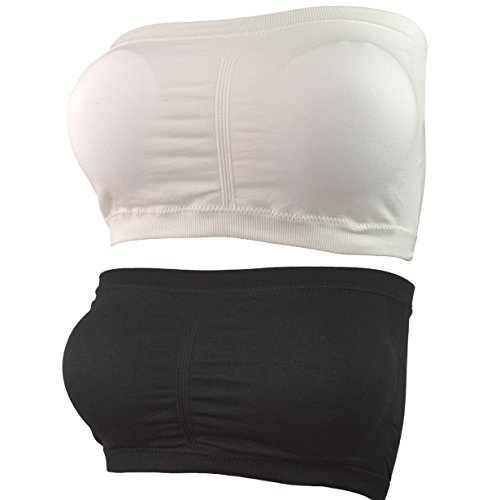 HOVEOX Women's Plus Size Strapless Stretch Seamless Padded Bandeau Tube Top Bra (Medium, 2PACK/Lot (Black + white))