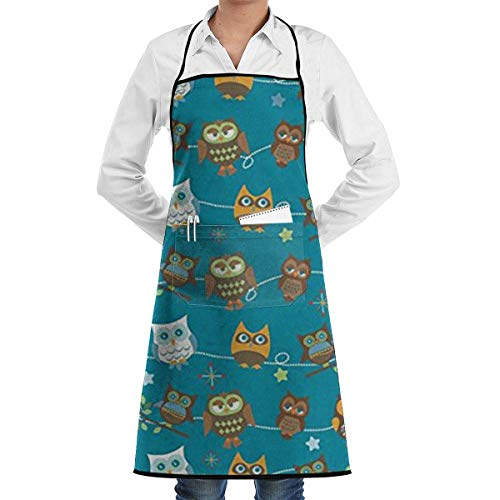 PIHJE Apron Christmas Halloween Owls Adjustable Apron Pocket & Extra-Long Ties, Men Women Kitchen Apron Cooking