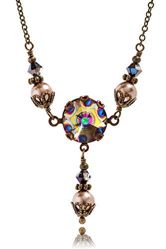 (HisJewelsCreations Peacock Crystal Rivoli and Simulated Pearl Pendant Jewelry)
