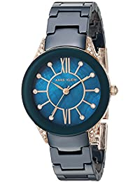 Womens AK/2388RGNV Swarovski Crystal Accented Navy Blue Ceramic Bracelet Watch