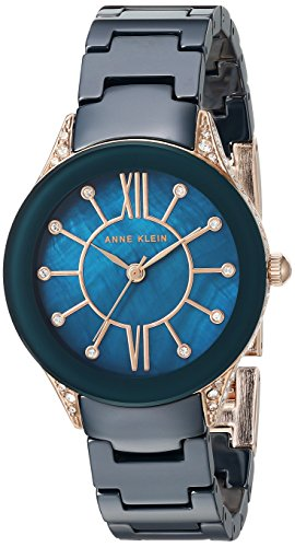 Anne Klein Women's Quartz Metal and Ceramic Dress Watch, Color:Blue (Model: AK/2388RGNV)