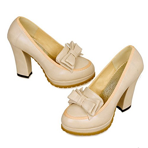VogueZone009 Womens Closed Toe Round Toe High Heels PU Soft Material Solid Pumps with Bowknot Beige AbcmV6