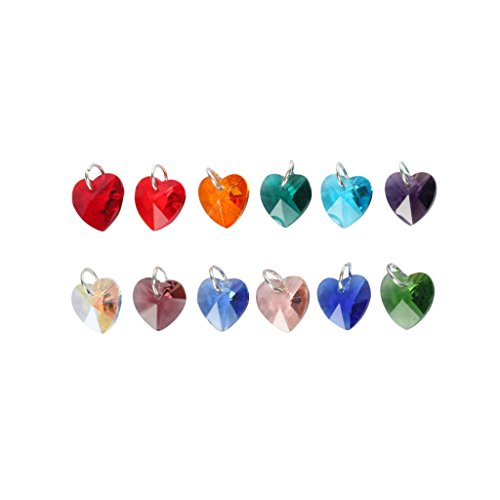 gle Charms 10mm Heart-Shaped Crystal Beads with Jump Rings (12 birthstone charms) #CCH-12B-10-R (Birthstone Dangle)