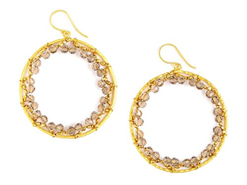 Handcraft Hammered Earrings (JANE JIRA Light Grey Smoky Crystal Hand-hammered Brass Hoop Dangle Earrings)