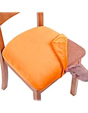 smiry Original Velvet Dining Chair Seat Covers, Stretch Fitted Dining Room Upholstered Chair Seat Cushion Cover, Removable Washable Furniture Protector Slipcovers with Ties