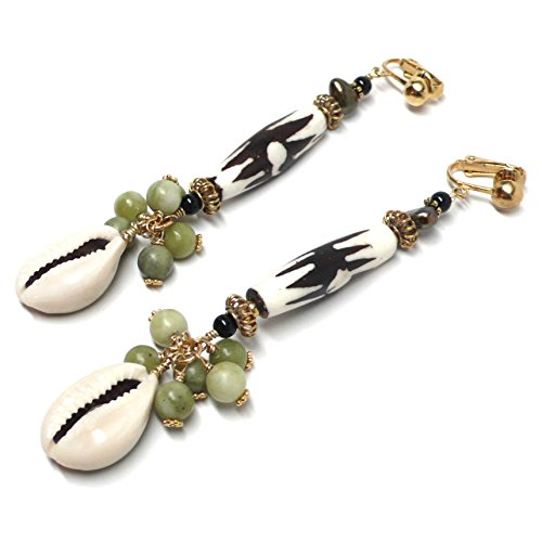 African Mud-Cloth Cowrie Shell Cluster Drop Long Dangle Earrings Serpentine Brass Clip-On (Shell African Ring)
