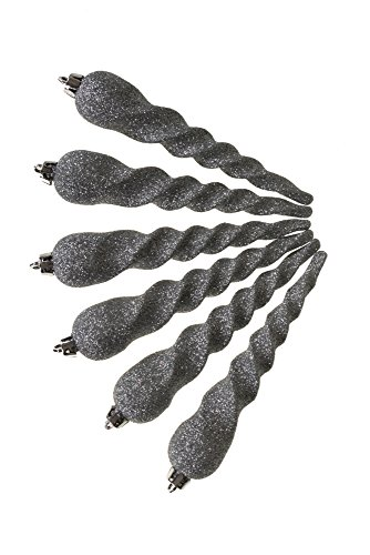 - Clever Creations Christmas Icicle Ornament Set Silver Glitter Twist Pattern | 6 Pack | Festive Holiday Décor | Timeless Classy Design | Light Weight Shatter Resistant | Hangers Included | 7