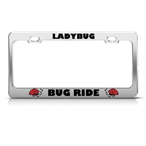 Speedy Pros Bug Ride Car Ladybug Animal Metal License Plate Frame Tag ()