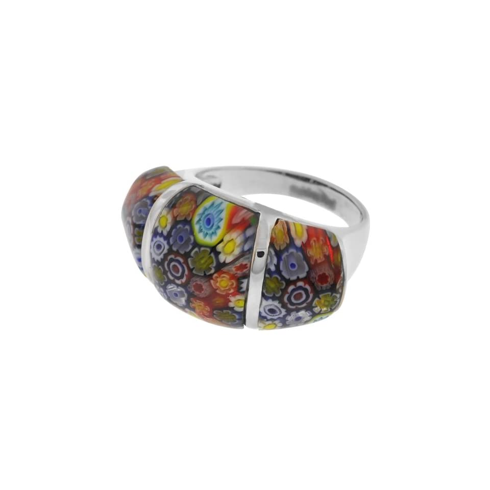 Size 7   Inox Jewelry Womens Murano Glass Three Piece 316L Stainless Steel Ring