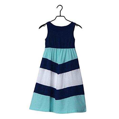 Tongshi Madre + hija  Costura de la raya de la familia ropa ocasional vestido de las mujeres Azul2