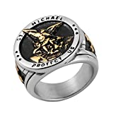 HZMAN St. Michael San Miguel The Great Protector Archangel Defeating Satan Figurine Stainless Steel Amulet Ring (Silver & Gold, 11)