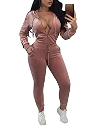 Womens Velour Hoodies and Pants Set 2 Piece Tracksuits Sweatsuits