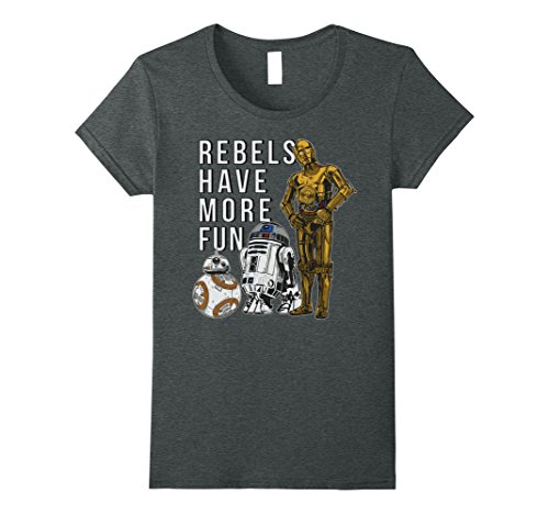 Womens Star Wars Last Jedi Droids Rebels Have More Fun Gold T-Shirt Small Dark Heather
