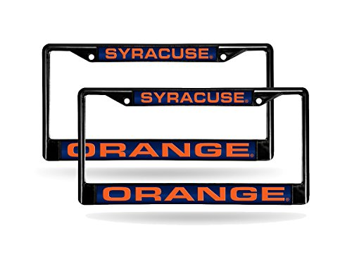 Rico Syracuse Orange NCAA Black Metal (2) Laser Cut License Plate Frame Set by Rico