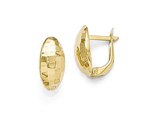 Finejewelers 14k Yellow Gold Polished and Hammered Hinged Post (14k Hammered Gold Earrings)