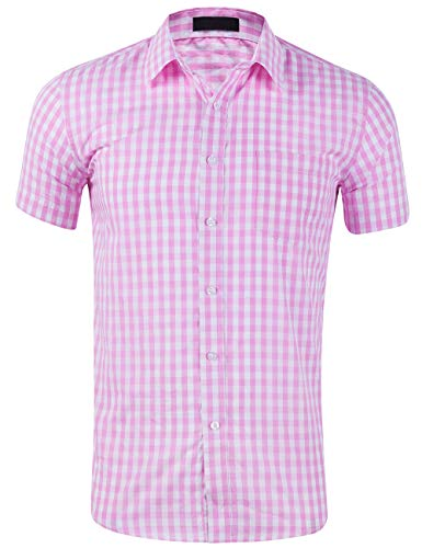 DOKKIA Men's Cotton Sleeved Buffalo Plaid Checked Business Dress Shirt (Short Sleeve Pink White, Large) (Floral Gingham Jacket)