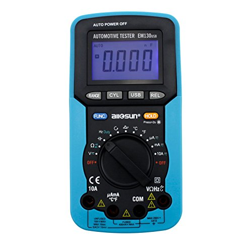 all-sun Handheld Auto range Automotive Multimeter / Digital Multimeter AC DC Volt Meter Dwell Angle Tester Tool with USB DMM