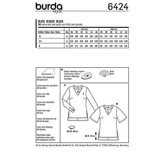 6424 femme Patron Patron Burda blouse blouse xYXpW