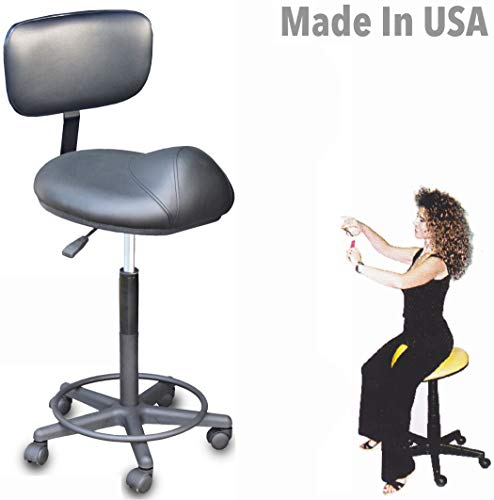 916-BS Prime Salon SPA Cutting Stool Anti-Fatigue Saddle w/Back Support Made in USA by Dina Meri