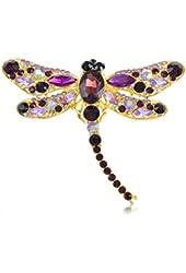 Alilang Yellow Gold Tone Purple Rhinestones Dragonfly Insect Brooch Pin