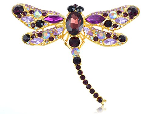 Alilang Yellow Golden Tone Purple Rhinestones Dragonfly Insect Brooch Pin (The Fly Costume)