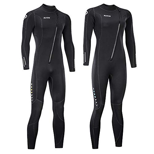 zcco Ultra Stretch 3mm Neoprene Wetsuit, Front Zip Full Body Diving Suit, one Piece for Men & Women-Snorkeling, Scuba Diving Swimming, Surfing ()