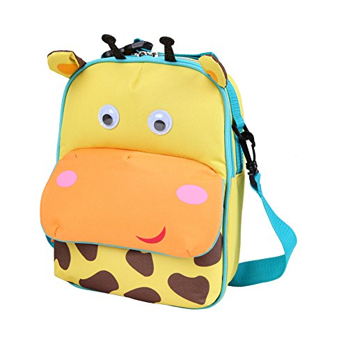 Yodo 3-Way Convertible Playful Insulated Kids Lunch Boxes Carry Bag / Preschool Toddler Backpack for Boys Girls, with Quick Access front Pouch for Snacks, Giraffe