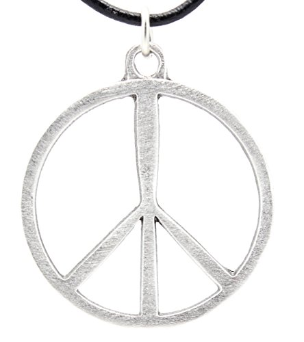 Trilogy Jewelry Pewter Classic Peace Sign 60s Hippie Pendant on Leather Necklace ()