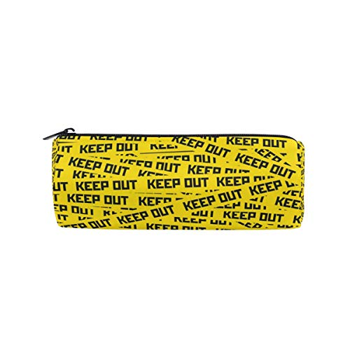 Pencil Case with Keep Out Caution Tape Print, Pen Bag Stationery Pouch Cosmetic Makeup Bag