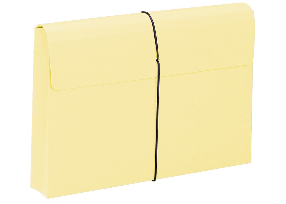 Smead Expanding File Wallet, 2'' Expansion, Protective Flap and Cord Closure, Legal Size, Yellow, 10 per Box (77211)
