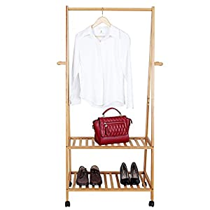 SONGMICS Bamboo Garment Coat Rack with 4 Coat Hooks 2-tier Shoe Clothes Storage Shelves URCR52N