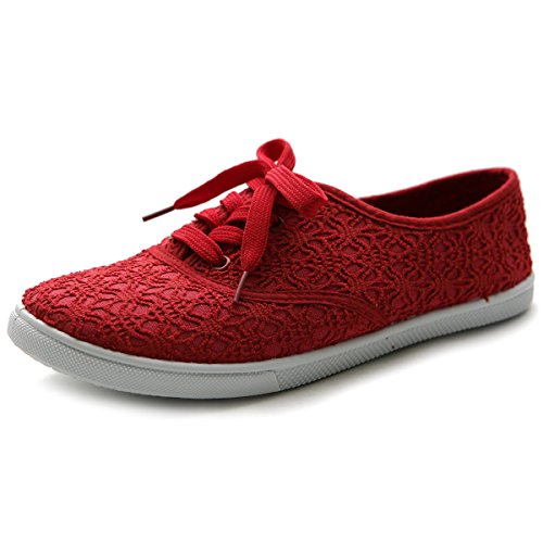 Ollio Women's Ballet Shoe Lace Up Sneaker Canvas Flat ML027(7.5 B(M) US, Red)