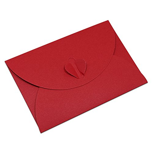 7.2x10.5cm (2.8x4.1 inch) Kraft Greeting Cards Envelope Decorative Take Out Container Mailroom Supplies Wedding Baby Shower Birth Announcements Invitation Business Letter (40 Pcs, Red)