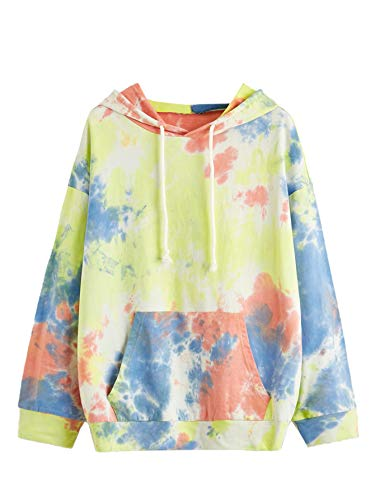 SweatyRocks Women's Long Sleeve Hoodie Sweatshirt Colorblock Tie Dye Print Tops