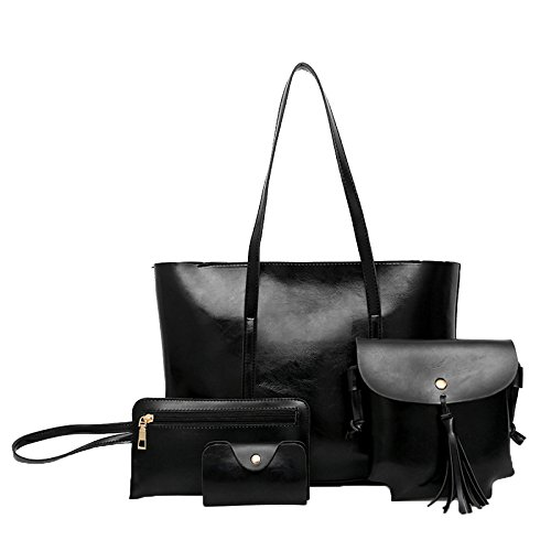 Handle à 4 à Sac Sac Bandoulière Fourre Pcs à Simple tout Main Sacs Black Main Exquisite Set Top Womens tqFYAwf