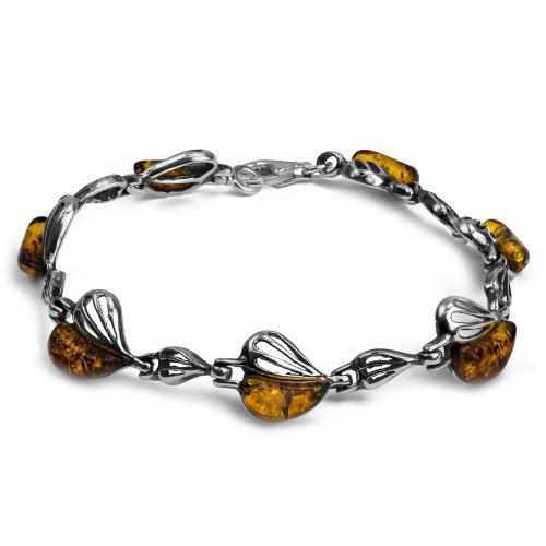 - Sterling Silver Amber Heart Bracelet 7.5 Inches