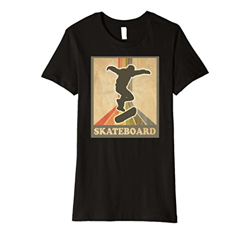 Womens Vintage and Retro Skateboarding Shirt Skateboard Tee Small Black