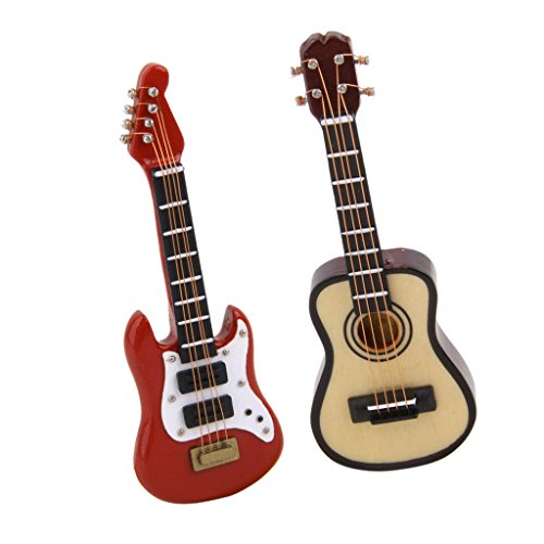 Dolity 2pcs Dollhouse Miniature Wooden Electric Guitar Music Room Musical Instrument