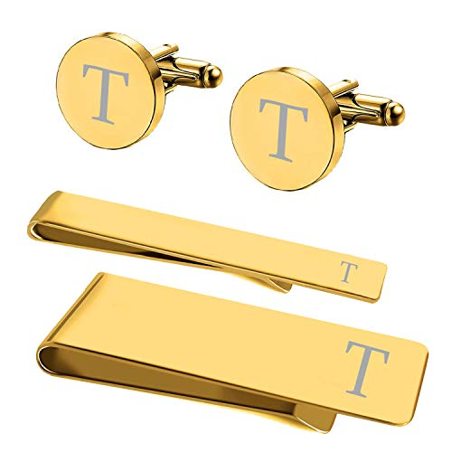 (BodyJ4You 4PC Cufflinks Tie Bar Money Clip Button Shirt Personalized Initials Letter T Gift)