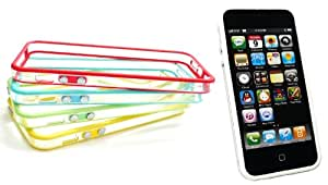 Emartbuy ® Apple Iphone 5 5s Bundle Pack Of 5 Moldeada Bumper Frame Gel Portada / Caso Amarillo, Verde, Azul, Rojo Y Negro
