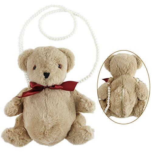 (Athoinsu Cuddly Stuffed Teddy Bear Clutch Bag Bear Plush Toy Inclined Shoulder Bag Convenient Purse for Girls, Brown, 11'' )