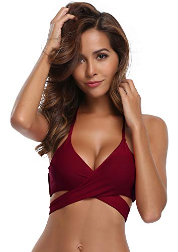 SHEKINI Womens Bathing Suits Floral Printing Swim Bottoms Padded Halter Bandage Bikini Two Piece Swimsuits (Wine Red - Top, XX-Large)