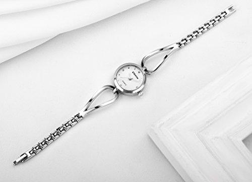 ETEVON Women's Quartz Rhinestone Silver Bracelet Watch Crystal Stainless Steel Element, Casual Simple Dress Analog Wrist Watches for Ladies