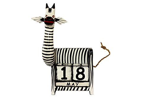 G6 Collection Wooden Zebra Perpetual Calendar Desktop Handmade Unique Removable Blocks Decorative Accessory Desk Accessories Handcrafted Hand Carved Decoration Forever Never Ending Calendar Decor