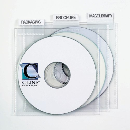 (C-Line Individual CD/DVD Holders with Index Tabs, Clear, 9 per Pack (61908))