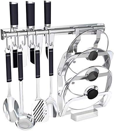 パン蓋ホルダー キッチンフックラック5フックや鍋蓋ラックステンレス鋼管ロード可能 (色 : Silver, Size : 46cm)